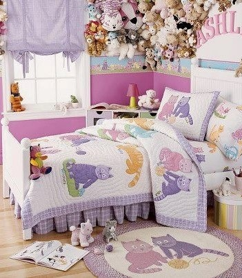 cat bedroom. For the younger girls out there  these cat themed bed covers work well with stuffed toys hanging above 30 Cute Cat Themed Bedroom Decorating Ideas Decor Buddha