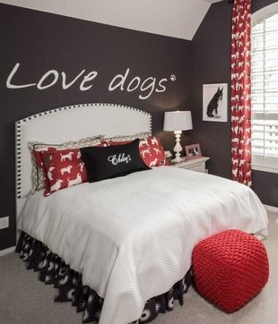 The Use Of Dog Pattern Is Prevalent But Subtle. Thereu0027s This Red Dog  Curtain, Dog Pillows, And The Bed Sheet.